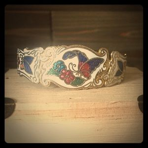 Vintage Enamel Butterfly Hinged Cuff Bangle